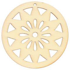 Wooden ornament round 4.7 cm - 10pcs