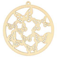 Wooden ornament round butterflies 7 cm - 10pcs