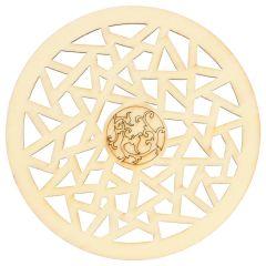 Wooden ornament round fantasy 7.3 cm - 10pcs