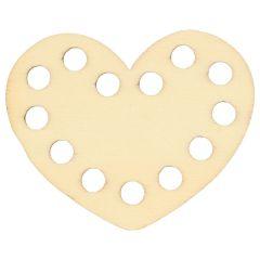 Wooden ornament heart 5 cm - 10pcs