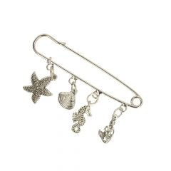 Kilt Pins with Sea Charms nickel - 5pcs