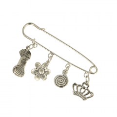 Kilt pins with charms 8cm nickel - 5pcs