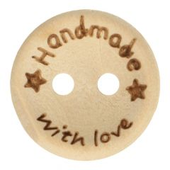 Wooden button handmade with love size 24-32 - 50pcs