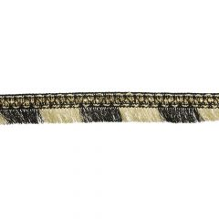 Ribbon with fringes and pearls black and light gold - 20m