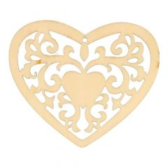 Wooden ornament heart 7,8 cm - 10 pcs