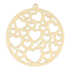 Wooden ornament hearts 7 cm - 10 pcs