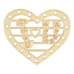 Wooden ornament heart 7 cm - 10 pcs