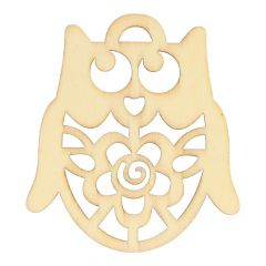 Wooden ornament owl 6 cm - 10 pcs