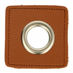 Eyelets on brown faux leather 14mm - 50pcs