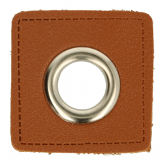 Eyelets on brown faux leather 11mm - 50pcs