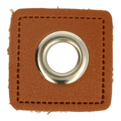 Eyelets on brown faux leather 8mm - 50pcs