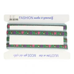 Woven Ribbon with Flower  -  22mm  -  25m