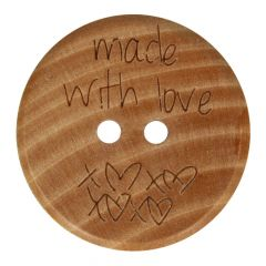 Wooden button made with love size 32-40 - 50pcs