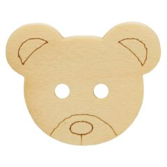 Button bear wood size 20-28 - 50pcs