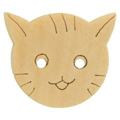 Button cat wood lasered wood size 22 of 30  - 50 pieces