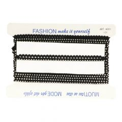 Elastic lace with rhinestones black 18mm - 9,2m