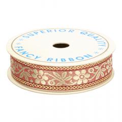 Flower-Ribbon 3cm with glitter rim GO of SI - 9m