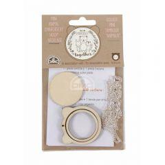 DMC Mini embroidery hoop bear with chain - 1pc
