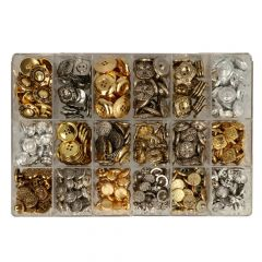 Rhinestone buttons-clasps assorted - 18 varieties - 170pcs