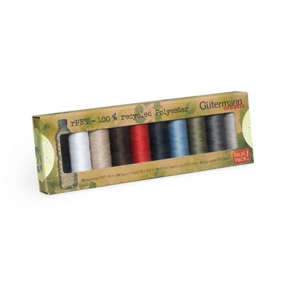 100/% Recycled Polyester G\u00fctermann Sewing Thread Set All-seam rPET Set 10 x 100 m Rainbow Colors